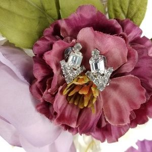 Vintage Crystal Art Deco Clip Earrings